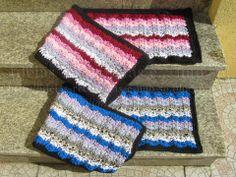 Tapetes Retangulares em Trapilho (Efeito Ondas). Croché. Artesanato e Reciclagem. Redireciona para Passo a Passo.