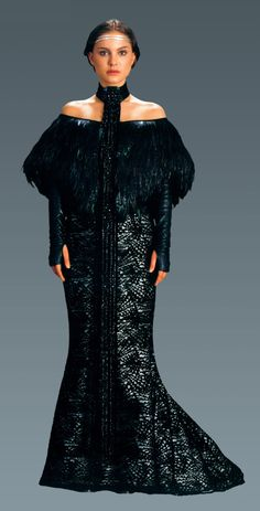 Dinner dress with black feather shawl.