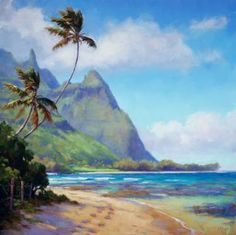 Walk in Paradise by Jenifer Prince Oil ~ x Watercolor Landscape, Abstract Landscape, Watercolor Paintings, Seascape Paintings, Landscape Paintings, Tropical Paintings, Landscapes, Hawaii Painting, Paradise Painting