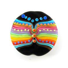 Butterfly- Lampwork XL lentil focal bead  #glass #lampwork #beads