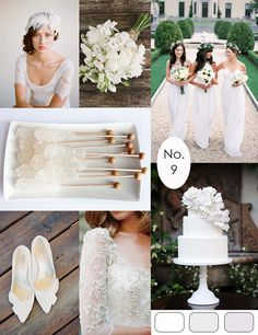 White Wedding Inspiration :: #wedding #colorpalette #inspirationboard