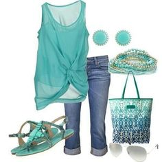 Turquoise sheer tank, cuffed jeans, turquoise embellished sandals, and lots of matching jewelry!