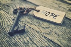 Old key with hope sign - Stock Photo ,