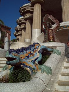 The famous Gaudi kameleon in Park Guell