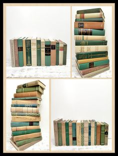 SALE ! Green Sand Grey~ 28 Vintage Books ~ Pastel Books by beachbabyblues, $175.00