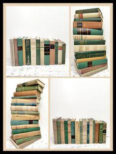 SALE ! Green Sand Grey~ 28 Vintage Books ~ Pastel Books by beachbabyblues, $175.00