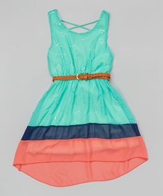 Mint Floral Color Block Belted Hi-Low Dress - Girls #zulily #zulilyfinds