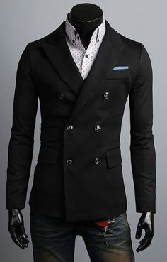 3bcd03daf2f Détails   New Mens Dandy Stylish Button Jacket Double Breasted Blazer Formal  Casual Jumper