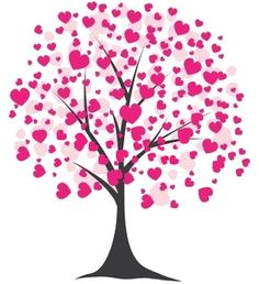 valentines clip art | Free Valentine's Day Clipart of a tree blooming with pink hearts.