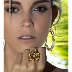 Anel Cristal Safira Amarela - ANST0026