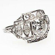 Antique Art Deco Old Euro Cut Diamond Engagement Ring Solid Platinum Filigree
