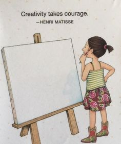 Handmade Fridge Magnet-Mary Engelbreit Artwork-Creativity Takes Courage