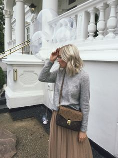 708d192c35 Maxi skirt outfit Grey knit oversized minimalistic fashion White sneakers  Louis Vuitton Pochette Metis reverse blonde