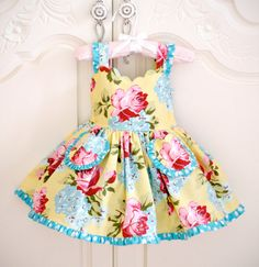 Girls Couture Dress scalloped bodice, ruffle twirl skirt in yellow red and blue polka dot 12 mo, toddler baby The Dress, Baby Dress, Little Girl Dresses, Girls Dresses, Toddler Outfits, Kids Outfits, Twirl Skirt, Scalloped Dress, Birthday Dresses