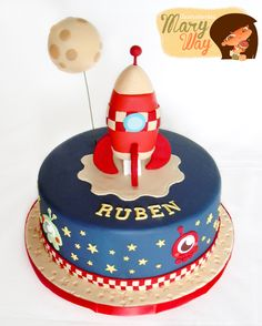 Blue, Red & White Rocket and Planet Cake (Ruben) Rocket Birthday Parties, 4th Birthday Cakes, Fondant Cakes, Cupcake Cakes, Rocket Cake, Planet Cake, Space Party, Space Theme, Cakes For Boys