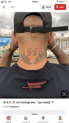 Angel wing neck date of birth dob Angel wing neck date of birth dob<br> Back Of Neck Tattoo Men, Wing Neck Tattoo, Wing Tattoos On Back, Forearm Tattoo Men, Date Tattoos, Leg Tattoos, Sleeve Tattoos, Tattoos For Guys, Celtic Tattoos