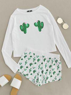 Romwe Cactus Print Tee And Shorts Pajama SetL