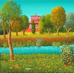 Villa sul Fiume by Marc Lesini Henri Rousseau, Texture Water, Italian Artist, Naive Art, Contemporary Landscape, Outsider Art, Art And Architecture, Art Forms, Art Images