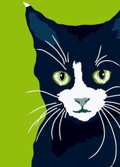 Green eyed cat by animalsincolor on Etsy, $16.00