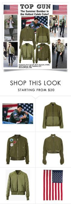 """""""Summer Bomber Contest Entry: Top Gun"""" by nicole-trail ❤ liked on Polyvore featuring Topshop, Rosie Assoulin, Evergreen Enterprises and bomberjackets"""