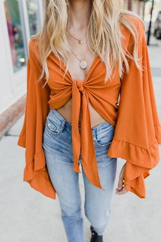 Wrap knotted bell sleeve top  #swoonboutique