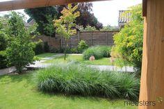 Verhoogd tegelpad als zichtlijn in de tuin.  Foto genomen vanuit Douglas pergola  #Modern #Tuinontwerp #Tuin #Modern #Garden Sidewalk, Porches, Side Walkway, Walkway, Walkways, Pavement