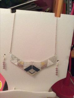 Collier plastron perles miyuki d'après mon propre dessin