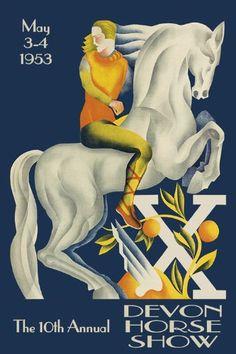 Horse Show Advertising Dressage Eventing Vintage Poster Devon, Poster On, Poster Prints, Albert Einstein Poster, 24 X 36 Posters, Horse Posters, Black Light Posters, Vintage Horse, Horse Art