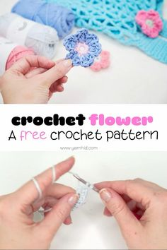 Learn how to crochet this easy flower. The crochet flower can be used as an appliqué on a hat or a bag and it is very easy and quick to make! Also, there is a written pattern plus a video tutorial. Crochet flower. Crochet flower patterns. Crochet flower free pattern easy. Small crochet flower. Crochet flower for a market bag.#crochetflower #easycrochetflower #howtocrochetaflower Knitted Flowers Free, Crochet Small Flower, Crochet Flower Tutorial, Crochet Flower Patterns, Diy Crochet, Crochet Crafts, Crochet Flowers, Crochet Projects, Crochet Flower Squares