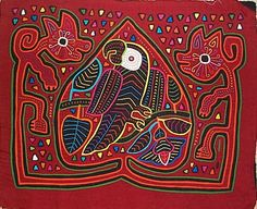 Parrot and two dogs Mola made by Kuna (Cuna) Indian people of Panama's San Blas Islands.