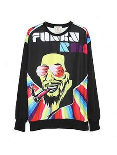 Loose Color Printing Avatar Long-sleeved Sweater | Choies