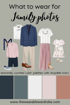Not sure what to wear for Family Photos? We've got you covered! Click the link and pick your color palette. Then download your guide with easy, quick, actionable steps to creating the outfits you've always wanted for photos. Planning photo outfits has never been easier! #familyphotooutfits #coordinatingfamilyphotolooks #summerfamilyphotooutfits #fashionforfamilyphotos #familyphotolooks Summer Family Portraits, Family Portrait Outfits, Family Photos What To Wear, Summer Family Photos, Outdoor Family Photos, Spring Photos, Navy Family Pictures, Family Pics, Family Picture Colors
