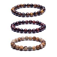 Naturel Pierre Perles Bracelets Haute Qualité Oeil de Tigre Bouddha de Lave Perles Rondes Élasticité Corde Bracelets pour femmes et hommes bijoux