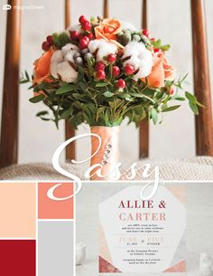 Wedding Color Trends! Timeless color scheme for Winter: Peach, Silver, Coral, and Strawberry. Check out more fantastic color combos at MagnetStreet.com!