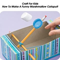 How To Make A Funny Marshmallow Catapult - Craft For Kids - http://www.hometipsworld.com/how-to-make-a-funny-marshmallow-catapult-craft-for-kids.html