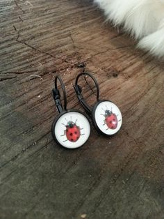 Ladybug Dangle Drop Earrings Black Handmade Spring Fashion Jewelry