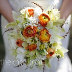 Pretty white & orange bridal bouquet by ZaraFee