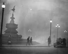 """6 December 1952: Piccadilly Circus. -  London was covered in """"fog"""" at the beginning of the 20th Century, culminating in the Great Smog in 1952."""