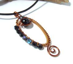 Copper black pendant  with onyx stone wire wrapped by VeraNasfa, $35.00
