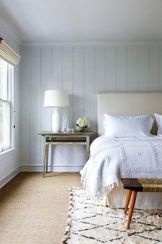 beige shiplap in the bedroom