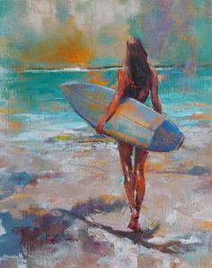 Fine Art Galleries & Online - A Feeling For The Wave Boat Painting, Painting Of Girl, Painting & Drawing, Surfing Painting, Arte Bar, Photo Images, Coastal Wall Art, Surf Art, Beach Art