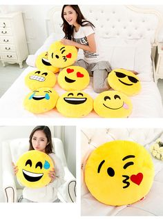 Mixture of round emoji smiley face throw pillow cushions