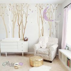 Large Forest Tree Wall Mural with Moon & Stars by theOliviaDesign on etsy. It comes in many different colors