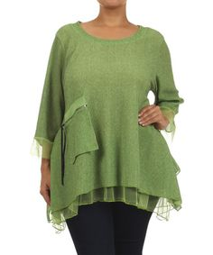 Look at this #zulilyfind! Apple Green Zip-Pocket Sidetail Tunic - Plus by Come N See #zulilyfinds