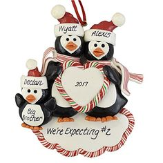Pregnant Family Personalized Christmas Ornament  Penguins  Expecting 2  Calliope Designs  5 Tall  Free Customization * Read more details by clicking on the image.