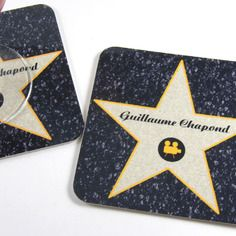 Original gift mark up movie star in Hollywood customizable coasters name Deco Cinema, Movie Place, Branded Movie, Hollywood Birthday Parties, Black Velvet Fabric, Personalized Coasters, Hollywood Star, Cannes Film Festival, Halloween Themes