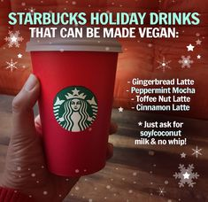 How to order Vegan Drinks at Starbucks Vegan Starbucks Drinks, Starbucks Holiday Drinks, Christmas Drinks, Starbucks Tea, Starbucks Christmas, Starbucks Recipes, Coffee Recipes, Vegan Foods, Vegan Recipes