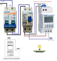 Esquemas eléctricos: reloj programable astronomico NKG3 monofasico Electrical Projects, Electrical Installation, Electrical Engineering, Electronics Components, Electronics Projects, Electrical Circuit Diagram, Digital Timer, Heat Pump, Arduino