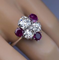 Vintage Diamond Ruby White Gold Engagement Ring - Antique Jewelry | Vintage Rings | Faberge Eggs