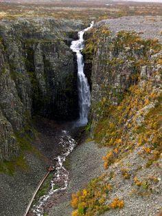 Njupeskär - Dalarna. 125 tall waterfall, tallest single plunge is 93 m tall. Tallest waterfall in Sweden.